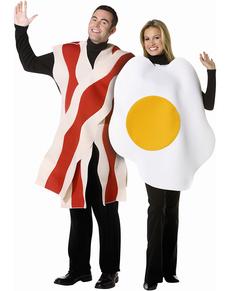Costume uovo con bacon 2 in 1 per coppia