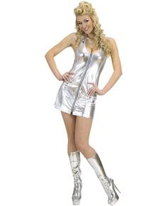Costume da disco argentato provocante per donna