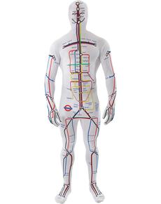 Costume da mappa della metro seconda pelle per adulto